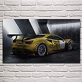 JIAJIFBH Imprime imágenes 40x60cm sin Marco Cool Yellow Racing Cars Vista Lateral Vehículos Deportivos Sala de Estar Decoración de Arte para el hogar Lienzo de Pintura Póster