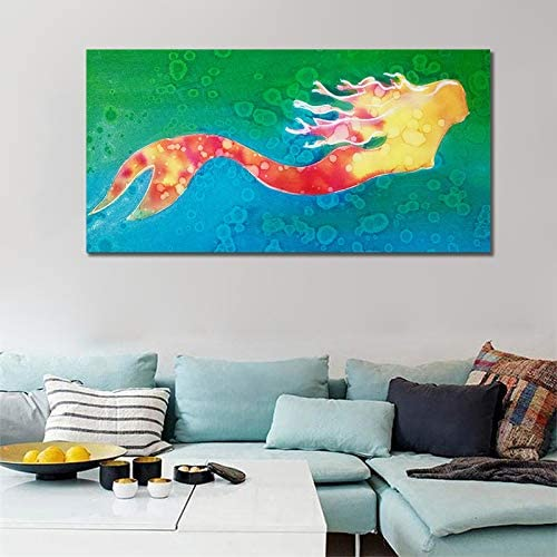 Frameless Mermaid Canvas Oil Painting Wall Art Picture For Living Room Home Deco