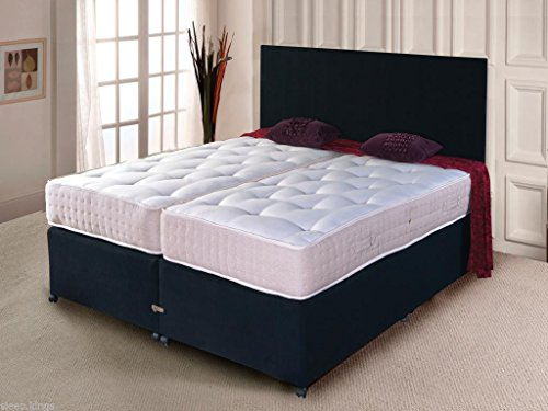 sleepkings 5ft & 6ft Luxury Zip & Link Divan Bed Sets with Pocket Sprung Mattress and 2 Drawer Storage on the Right Beds (5ft Kingsize, Cream)