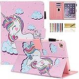 Dteck Case for iPad Mini 5/4/3/2/1 - Slim Premium Leather Multi-Angle View Stand Folio Smart with Auto Wake/Sleep Soft Back Cover for Apple iPad Mini 5th Gen 2019/Mini 4/Mini 3/Mini 2, Pink Unicorn