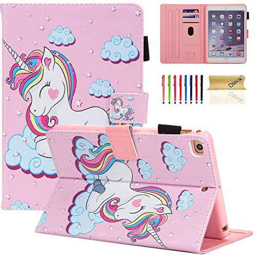 iPad Mini Case, Mini 2/3/4/5 Case, Dteck Slim Premium Leather Multi-Angle Stand Folio Smart with Auto Wake/Sleep Soft Back Cover for Apple iPad Mini 5th Gen 2019/Mini 4/Mini 3/Mini 2, Pink Unicorn