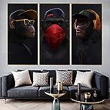 Impresión de lienzo arte de pared obra de arte tres monos sabios cuadro de pinturapara la decoración del hogar de la sala de cena 60x110cmx3 sin marco