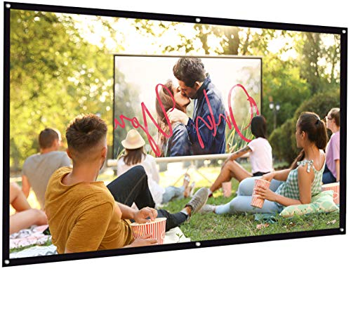 Bomaker Projector Screen, 100 inch Projection Screen 16:9 HD Foldable Anti-Crease Portable Washable Projector Screen, Ideal for Home Theater Outdoor Indoor Support Double Sided Projection