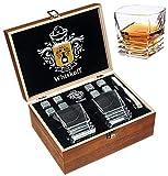 Juego de Regalo de Copas de Cristal Roca - Vaso Scotch con Base Fuerte - Caja de Regalo de Madera - Piedras de enfriamiento para Whiskey de Bourbon Juego de Whiskey de Bourbon