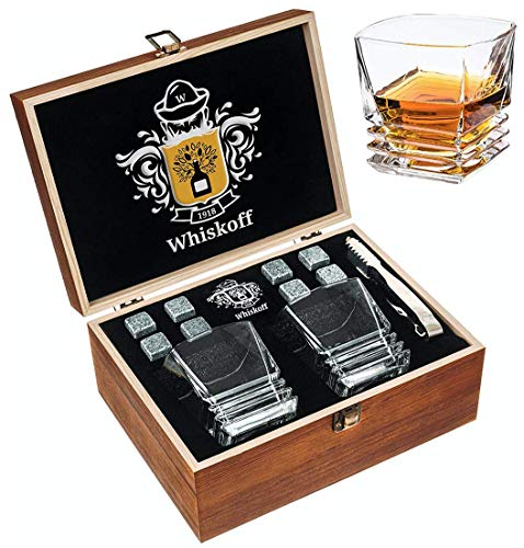 Whiskey Bril Stenen Gift Set - Scotch Bourbon Tumbler Heavy Base - Whisky Rocks Chilling Stones in Houten Gift Box - Burbon Gift Set voor echtgenoot vader zoon - Idee voor verjaardag bruiloft Wisky Lovers Mannen Golf
