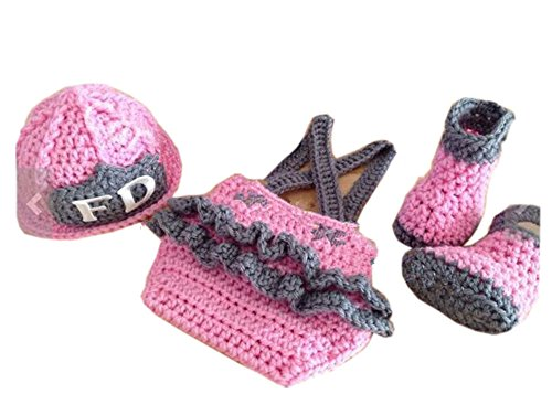Pinbo Newborn Baby Girls Photography Prop Crochet Frieman Hat Diaper Shoes