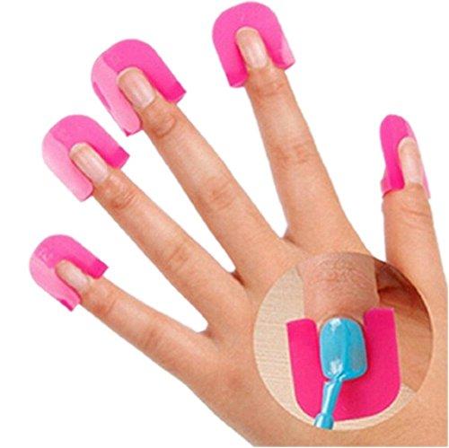 nicebuty 10pc plástico Nail Art Soak Off tapón clip UV Gel Polish Remover Wrap (Vif rosa)