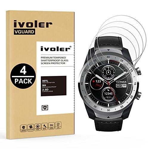 iVoler Pellicola Vetro Temperato per TicWatch PRO/Garmin Fenix 6S PRO 42mm / Swim 2 / Huami Amazfit Verge/Huawei Watch GT Smartwatch, Pellicola Protettiva, Protezione per Schermo, 4 Pack