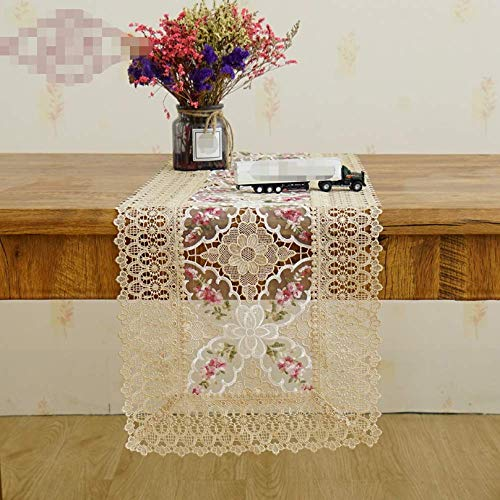 Country Personality Hollow Embroidery Exquisite Lace Table Runner Glass Gauze Tablecloth Tea Table Cloth Home Soft Decoration 100x150cm