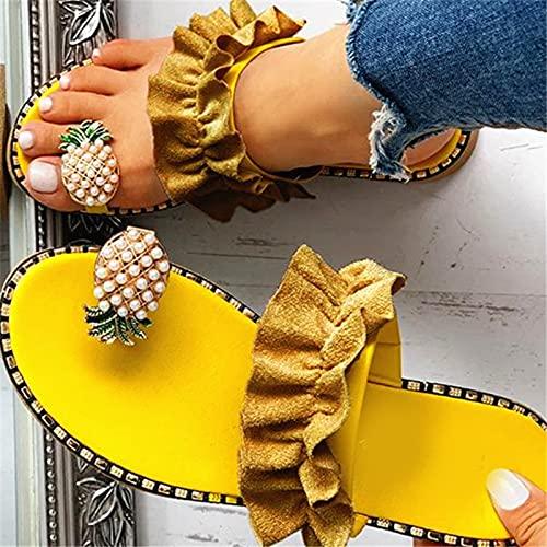 Valink Sandalias para mujer Tanga,Sandalia de lazo para mujer,Zapatillas de verano con forma de piña con diamantes de imitación de cristal sin cordones