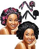 2 Pieces Soft Satin Head Scarf Sleeping Cap Bonnet Headwear Head Wrap Turbans for Women Long Curly Hair, Braids (Chic Pattern)