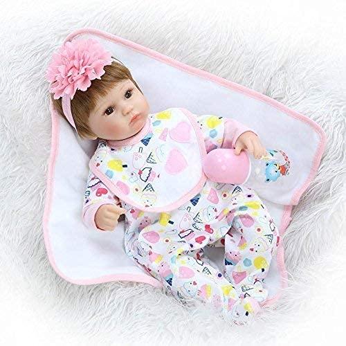 DERUKK-TY Muñeca Reborn de Silicona de Tacto Suave Suave de 17 Pulgadas, muñecas realistas para recién Nacidos, muñecas vivas, Pelo de Fibra, compañero de Juegos para niños