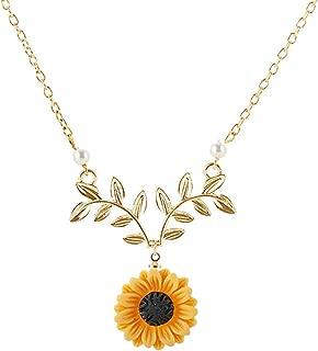 krun Sunflower Pendant Necklace Pearl Leaf Chain Resin Boho Handmade Drop Choker Necklace for Women Girls