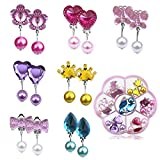 Netspower Clip Ohrringe Set, 7 Paare Kinder Ohrringe Klips Quaste Kristall Langer Perlenohrclip,...