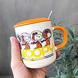 xingfuankang 1Pcs 350Ml Tazza da caffè per Cani dei Cartoni Animati con Coperchio E Cucchiaio 6 Stili Cute Dog Milk Tea Juice Tazza in Ceramica Regali per Bambini Friends_Style_D_Mug