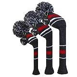 YDL 3pcs Knit Knit Golf Headcovers, con Rayas Blancas Rojas Clásicas, Fluffy Pom Pom Foots para Conductor Fairway Hybrid (Color : Set of 3)