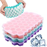 Ice Cube Trays with Lids, Silicone 111-Ice Cube Moulds with Anti-Cross Smell Removable Lid, BPA Free, Stackable Durable, for Freezer Ice, Baby Food, Whiskey, Cocktail (3 Pack-Pink Light Blue Purple)