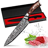 Kitchen Knife?8 inch Chef's Knives Professional Chef Knife Japanese 7CR17 High Carbon Stainless Steel Meat Cleaver Colored Solid Wood Handle,Ultra Sharp,Best Choice for Home Kitchen and Restaurant