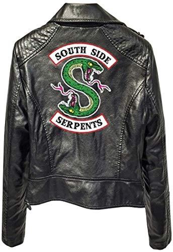EMILYLE Mujer Riverdale Chaqueta Jacket De Motocicleta Piel Puro Guay South Side Serpientes