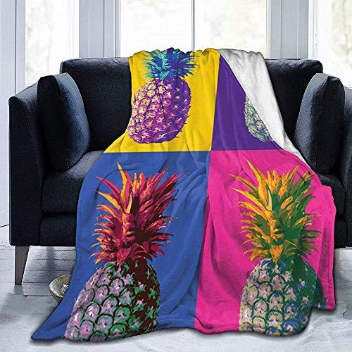 DWgatan Couverture,Couvre-lit de canapé Polyvalent Doux et Chaud de qualité Colorful Pineapple Pattern Printed Blanket for Bedroom Living Room Couch Bed Sofa -50\