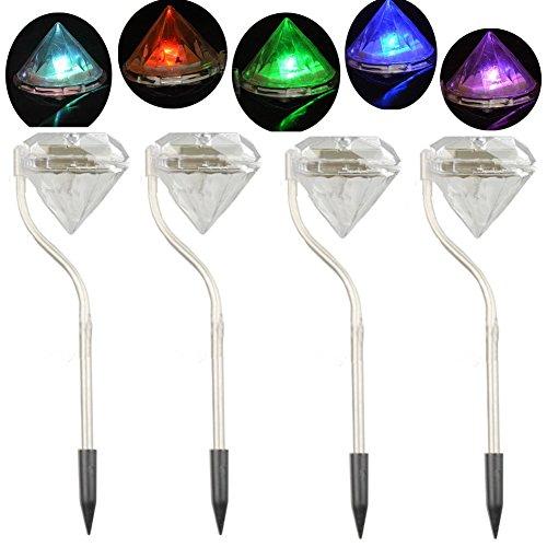Solarleuchten Motion Sensor Sicherheit Lichter, wasserdicht Solar-Leuchte Diamant LED Edelstahl Garten Rasen Pfad Lampen
