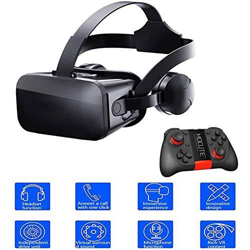 Gafas De Realidad Virtual 3D VR Glasses Visión Panorámico Película Juego Immersivo para Móviles 4.5-6.2 Pulgada Smartphone Cine Privado Familiar Mando A Distancia con Asa