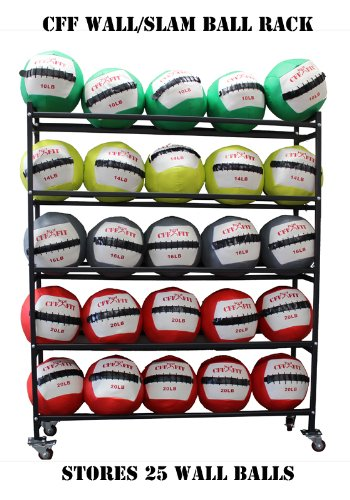 "CFF 5 Tier Medicine Ball Storage Rack Holds up to 25 Wall/Slam Balls 14"" Gyms Balls"