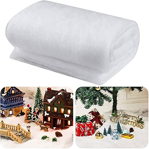 BBTO Weihnachten Schneedecken Set Künstliche Schneematte für Weihnachten Dorf Hintergr& Dekorationen (2 Stücke, 31 Zoll x 7,9 Feet)