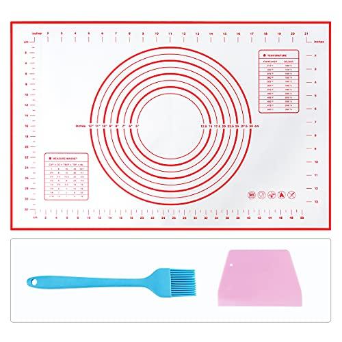Tapete de Silicona para Hornear y Amasar la Masa, Raspador de Regalo y Cepillo de pastelería, Baking Mat con Medidas, Libre de BPA, para Hacer Fondant Pizza Dough Tarta, 60 x 40 cm
