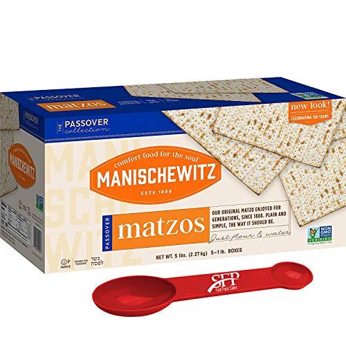 Manischewitz Passover Matzos Crackers, Fresh and Crispy Matzah. 10 Lbs. Total (2 Pack) With Bonus Measuring Spoon Included!
