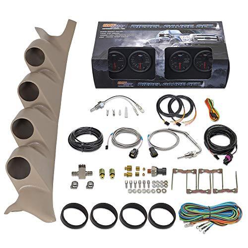 GlowShift Diesel Gauge Package for 1999-2007 Ford Super Duty F-250 F-350 Power Stroke - Black 7 Color 60 PSI Boost, 1500 F EGT, Transmission Temp & 100 PSI Fuel Pressure Gauges - Tan Quad Pillar Pod