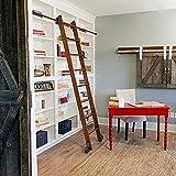 ZRFANS Biblioteca de Hardware de la Escalera Negra rústica de la Escalera de Hardware de la Escalera corredera de la...
