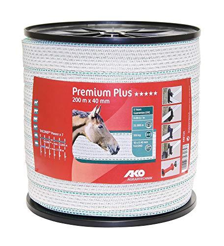 AKO Premium Plus Weidezaunband/Elektrozaun Breitband, 40 mm, weiß/grün - 200 m - Widerstand: 0,09 Ohm, bestmögliche Leitfähigkeit für anspruchsvolle Zaunanlagen