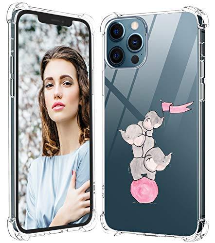Kompatibel Mit iPhone 12 Pro Max 5G Hülle Silikon Transparent TPU Flexible Tiere Cover 360 Panda Silikoncase für iPhone 12 Pro Max 5G Handyhülle Elefant Schutzhülle für iPhone 12 Pro Max 5G Handy 6.7