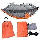 Jimfoty Camping-Hängematte, tragbare leichte Fallschirm-Hängematte Single Double Hiking Travel Indoor-Hängematte mit Baumgurten(Graues Moskitonetz)