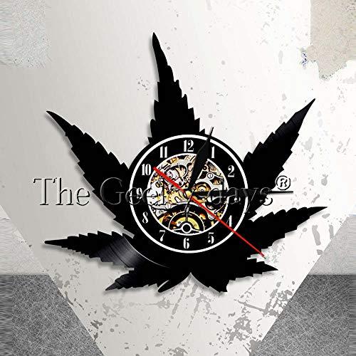 LED Nachtlicht Unkraut Blatt Wanduhr Vintage Vinyl LP Rekord Wanduhr Cannabis Blatt Silhouette Symbol Wand Kunst Topf Yestona Geschenk Tischlampe Anglepoise