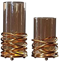 装飾花瓶 - 現代のミニマリストのステンレス鋼のガラス装飾品の床の立場屋内花の棚の装飾合金材料2個