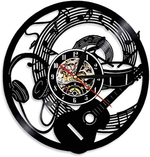 YDZYXY Regalo Reloj de Pared de Vinilo Reloj de Pared Música Rock Decoración de Pared Habitación Familiar Retro Regalo Art Deco 12 Pulgadas con LED-12 pulgadasUGT568