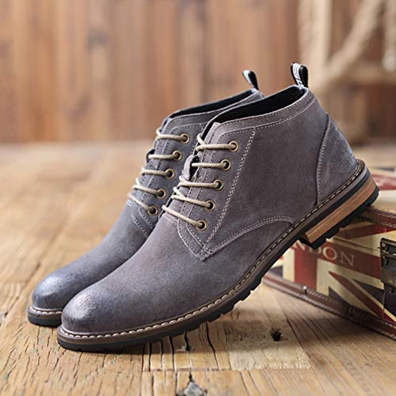 ZyuQ Ankle boots Martin Boots Men'S High Boots Fashion Business Retro To Help Fall Pointed shoes Pu Boots Men