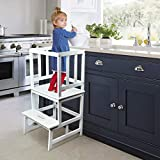 TinyGiant Kids Kitchen Step Stool with Safety Rail - Kitchen Helper Stool for Toddlers - Toddler Safety Cooking Tower - Learning Tower for Toddlers 18 Months and Older - Wooden White Step Stool