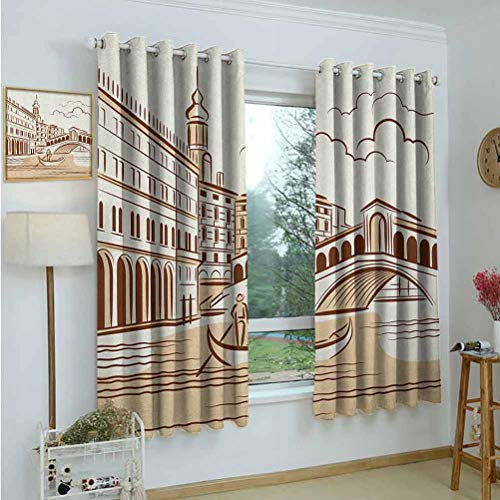 Gardome Blackout Curtains Venice,Stencil Art Display of Tranquil Venetian Landscape Bridge Buildings and Gondola,Burgundy Cream,Living Room and Bedroom Multicolor Printed Curtain Sets 42'x72'