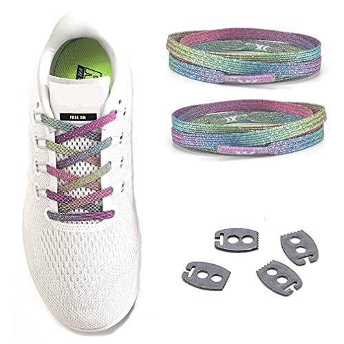 MAXX laces elastische Schnürsenkel flach für alle Schuhe - Schnellverschluss Schnürbänder ohne binden für Damen, Herren, Kinder - Sneaker, Sportschuh, Arbeitsschuh, Trekkingschuh (Glitter Rainbow)