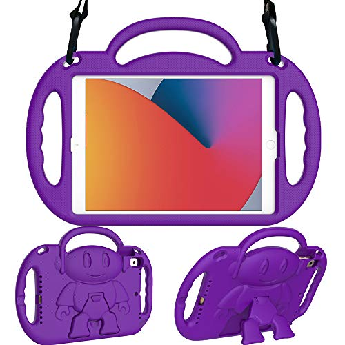 Surom Kids Case for New iPad 10.2 Inch 2020/2019 (8th/7th Generation), Light Weight Shock Proof Handle Stand Shoulder Strap Kids Case for 2020/2019 iPad 10.2, iPad Air 3 10.5 2019, Purple