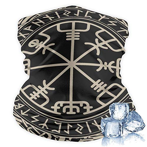 Unisex Multifunctional Headwear Bandana Neck Gaiter Balaclava Face Cover - Black Celtic Viking Design Magical Runic Compass Vegvisir in The Circle of Norse Runes and Dragons Tattoo Decorative
