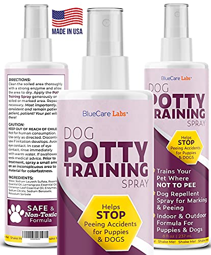 Dog Potty Training Spray | Trains Your Pet WHERE NOT to Urinate | Indoor & Outdoor Dog Pee Repellent Housebreaking Spray | No More Marking | Safe & Non-Toxic | Free Potty Training Guide Included