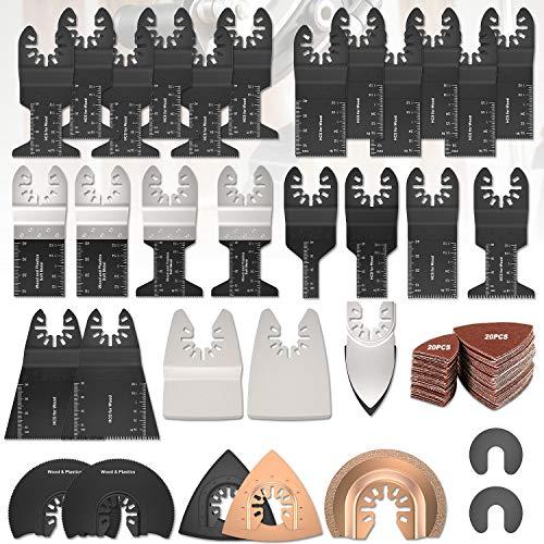 72 tlg Oszillierendes Sägeblätter Kit,Sägeblätter Kit Mix Oszillierende Klingen Multi-Tool Zubehör für Holz für Fein Multimaster Makita Einhell