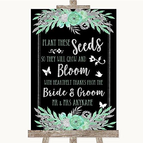 Zwarte munt groen & zilver collectie zwarte munt groen & zilver planten zaden gunsten bruiloft teken Framed Oak Medium Zwart