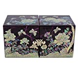Caja de joyería morada, diseño de cubo de forma original, nácar natural, joyero artesanal de coreano