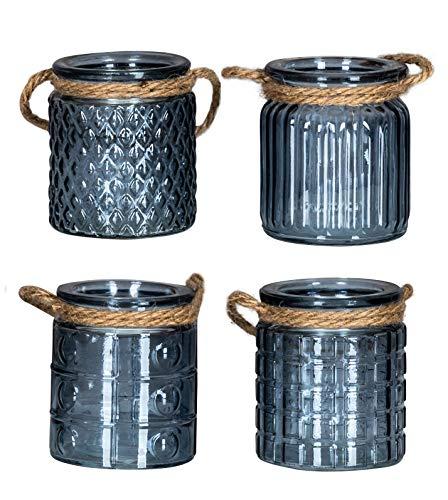 levandeo 4er Set Windlicht H10cm Glas Blau Teelichthalter Tischdeko Kerzen Deko Retro Kerzenhalter Flachs