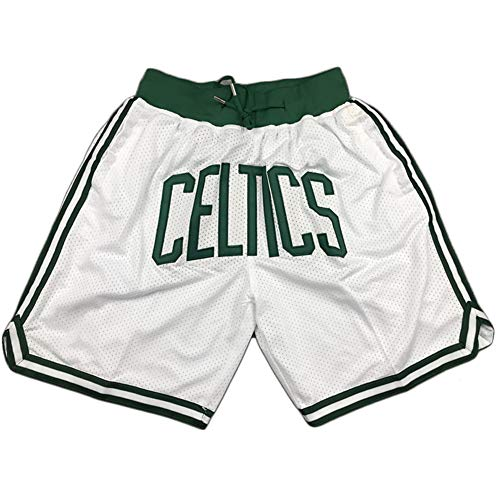 Summer Mesh Sports Shorts Celtics Spielshorts Jungen Atmungsaktive Stickerei Retro Basketball Shorts White-S